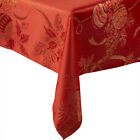 Festive Baubles & Holly Christmas Tablecloth Glittery Lurex Red Gold Table Linen
