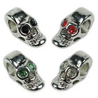 Platinum Metal Colored European Style Skull Beads with Rhinestone Gems