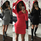 Sexy Women Hoodie Mini Dress Sweatshirt Pullover Top Bodycon Jumper Hoody Blouse
