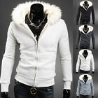 TOP Designer Men's Fleece Lined Fur Collar Hooded Parka Jackets Casual Warm Coat
