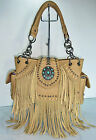 New Trinity Ranch Leather Fringe, Studded Western Bag w/ Turquoise Accent-Tan