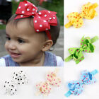 Toddler Kids Baby Girls Chiffon Polka Dot Ribbon Bow Hairband Headband Head Wrap