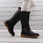 Womens Black Faux Leather Flat Round Toe Ladies Warm Fur Style Lined Winter Boot
