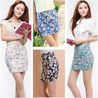 Women Sexy Business Work Office High Waist Floral Mini Short Pencil Sheath Skirt