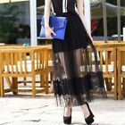Women Sexy Black White Sheer Mesh See-Through Lace Layered Long Maxi Full Skirt