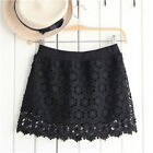 Women Sexy Floral Lace Hollow Out Mini Short Hip Package Skirt with Safety Pants