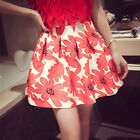 Floral Pattern High Waist Hip Pleated Circle Skater Full Flare Mini Short Skirt