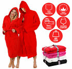 RED HOODED BATHROBE 100% COTTON M L XL XXL XXXL XXXXL PRESENT GIFT MENS LADIES