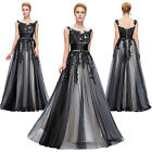 Womens VTG Style 1950's Retro Evening Party Dresses BLACK