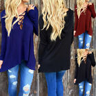 Newest Womens Long Sleeve Hoodie Shirts Lace-up  Blouse Tops Casual TEE Club