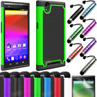 Rugged Rubber HYBRID Armor Dual Impact Hard Skin Case Cover For ZTE ZMAX Z970