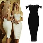 Off Shoulder Black White Red Nude Bodycon Bandage Evening Party Cocktail Dress