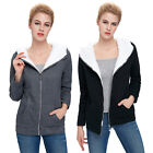 Korean Womens Winter Warm Fleece Hooded Coat Slim Thicken Casual Zipper Jackets