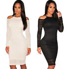 Sexy Women Cut Out Cold Shoulder Long Sleeve Bodycon Party Club Midi Lace Dress
