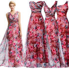 Floral V-Neck Long Ballgown Wedding bridesmaid COCKTAIL Party dress Size+ 8 10 +