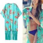 Trendy Floral Tassels Fringe Kimono Cardigan Blouse Beach Cover Up Jacket Top
