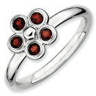Garnet Rose Flower Ring .925 Sterling Silver Size 5-10 Stackable Expressions