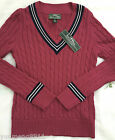 NWT Ralph Lauren active cotton sweater women navy pink white cable knit $99.5