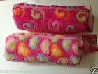 Furry Fluffy Pencil Case Baby Pink with Hearts or Swirls