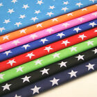 """Stars Fabric - 27mm Print - Polycotton - 112cm 44"""" WIDE Blue Red Pink"""