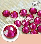 GENUINE Swarovski Fuchsia (502) Hotfix Rhinestone Iron On Round Crystal Bead Gem