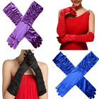 1Pair Women's Lady Satin wedding Bridal Evening party costume Gloves Mittens US