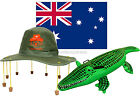 CORK HAT FLAG AND INFLATABLE CROCODILE AUSTRALIA DAY FANCY DRESS AUSSIE KIT