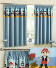 Blue Childrens Thermal Block Out Tape Top Curtains With Pirates Design