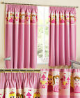 Pink Childrens Thermal Block Out Tape Top Curtains With Cute Princess Design