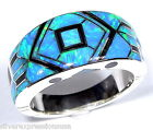 Blue Fire Opal & Black Onyx Inlay 925 Sterling Silver Men's Band Ring Size 12