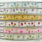 "3/8""9mm Mixed Colors Elegant Rose Spring Grosgrain Ribbon 5 Yard High Quality"