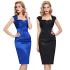 RETRO WOMENS VINTAGE PENCIL 50S 60S WIGGLE PINUP EVENING PARTY DRESS