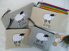 Personalised Sheep Purse/Wallet or Pencil Case Grey Wool or Linen, Word Choice