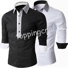 New 2016 Men's Slim Fit Long Sleeve Formal Dress T Shirt Casual Vintage Tops TEE