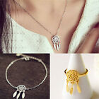 Unique Dream Catcher Necklace Bracelet Rins Set with Feather Jewelry Gift EW