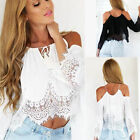 Sexy Women Boho Lace Off Shoulder Shirt Summer Crop Tank Tops Blouse 2 COLORS