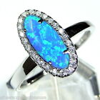 Blue Fire Opal & White Topaz Solid 925 Sterling Silver Ring size 7 - 7.75