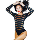 2016 New Womens Celebrity Ladies Mesh Insert Long Sleeve Leotard Bodysuit