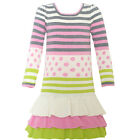 Bonnie Jean Little Girls Ivory Pink Stripe Dot Tiered Christmas Dress 2T-6X