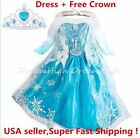 Girls Kids Dress Frozen Elsa Anna Party costume Princess +  Free Crown 2-10Y