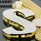 "14K YELLOW GOLD FINISH INITIAL LETTER S ICED OUT PENDANT 36""CHAIN 129g L16"