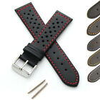 Mens Genuine Leather Watch Strap - Buckle and Spring Bars - Perforated/Sports