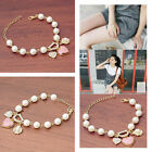 Fashion Women Girl  Glass Pearl Crystal Loving Heart Flower Charms Bracelet