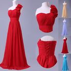 Flower Shoulder Long Formal Wedding Party Dress Bridesmaid Evening Prom Gown RED