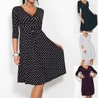 New Women Maternity V-Neck Pregnancy Dot Nursing Dress Half Sleeve UK Size 6-24