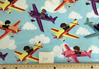 £6 a Metre SPECIAL : PETS in Planes on blue : 100% cotton fabric