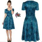 DONNA VOODOO VIXEN BLU LEOPARDATO ROCKABILLY ABITO VINTAGE ANNI 50 ALTERNATIVE
