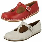 Ladies Clarks Tustin Talent Red Or White Leather Casual T-Bar Shoes D Fitting