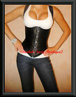 Black Corset Steel Busk Bone Shaper Full Lace Up Back Ship from NEW YORK S-2XL