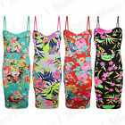 Womens Sleeveless Strappy Floral Neon Ladies Celeb Bodycon Midi Dress Size 8-26